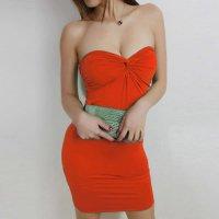 【春分フェア☆第2弾】ツイスト加工された胸元がセクシーなベアトップワンピースタイプのボディコン風セクシードレス(SEXYDRESS) オレンジ 2