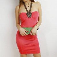 【春分フェア☆第2弾】ロングタイプのネックレスとワンピースを一体型にしたボディコン風セクシードレス(SEXYDRESS) ピンク
