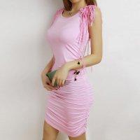 【春分フェア☆第2弾】両肩にメッシュのフリンジ装飾をあしらったボディコン風セクシードレス(SEXYDRESS) ライトピンク