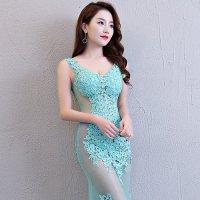 透け感の強い総チュールドレスを沢山の刺繍モチーフで華やかに飾ったロングドレスタイプのベビードール(BABYDOLL) ライトグリーン