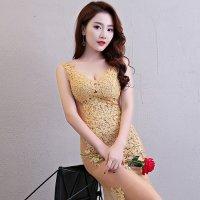 透け感の強い総チュールドレスを沢山の刺繍モチーフで華やかに飾ったエレガントなロングドレスタイプのベビードール(BABYDOLL) ゴールド