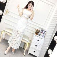 【最大50%OFF☆WINTER SALE】花柄刺繍入りのロングタイプのベビードール(BABYDOLL) ホワイト