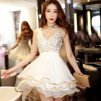 【サマーフェスタ☆全品10%OFF!】鮮やかなカラーリングと煌めくビジューがラグジュアリーなドレス風ベビードール(BABYDOLL) ホワイト