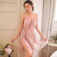【最大30%OFF☆ランジェリーフェア】透かし彫りされた花柄から覗く素肌がセクシーなベビードール(BABYDOLL) ピンク