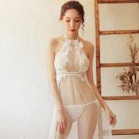 【サマーフェスタ☆全品20%OFF】シースルーのポルカドット柄と刺繍がフェミニンなロングドレスタイプのベビードール(BABYDOLL) ホワイト