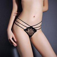 【サマーフェスタ☆全品20%OFF】両脇に3本ずつ渡した華奢なストリングがセクシーなTバックショーツ(T-BACK・SHORTS) ブラック