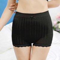 リブ編み風のチェーン柄がキュートで安心感のある履き心地のシンプルなボーイレッグのショーツ(T-BACK・SHORTS) ブラック
