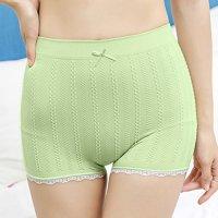 リブ編み風のチェーン柄がキュートで安心感のある履き心地のシンプルなボーイレッグのショーツ(T-BACK・SHORTS) グリーン