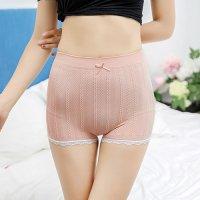 リブ編み風のチェーン柄がキュートで安心感のある履き心地のシンプルなボーイレッグのショーツ(T-BACK・SHORTS) ピンク