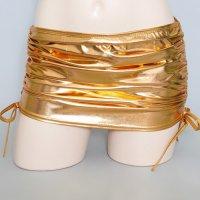 【只今決算SALE開催中!】メタリックな光沢と質感が目を惹く妖艶なメタルレザーのミニスカート(SKIRT) ゴールド