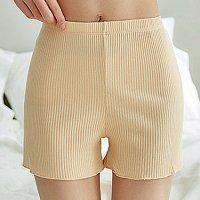 肌触りソフトなリブ編みが肌に馴染むオールマイティなシンプルショートパンツ(PANTS) ベージュ
