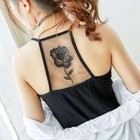 【春分フェア☆第2弾】バラ柄の刺繍が入った背中のメッシュ切り替えがセクシーなキャミソールタイプのパッド入りトップス(TOPS) ブラック