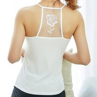 【サマーフェスタ☆全品20%OFF】バラ柄の刺繍が入った背中のメッシュ切り替えがセクシーなキャミソールタイプのパッド入りトップス(TOPS) ホワイト