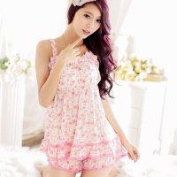 ひらひらのフリルやレース使いが可愛いロマンティックなデザインのパジャマ(PAJAMAS) ピンク