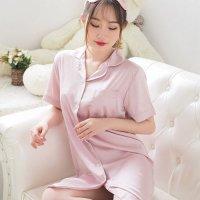 ゆったりサイズのシャツ1枚仕立てが男心を揺さぶる高級感のあるマットサテンのパジャマ(PAJAMAS) ピンク