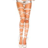 【サマーフェスタ☆全品15%OFF!】メタリックの光沢感と質感がセクシーな美脚を演出するメタリックレッグラップ(LEG WRAP) シルバー