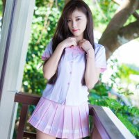 【只今決算SALE開催中!】ピンク×ホワイトのキュートなバイカラーの制服風コスプレ(COSPLAY)