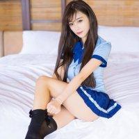 バイカラーが爽やかで愛らしい制服風セクシーコスプレ(SEXYCOSPLAY) ブルー