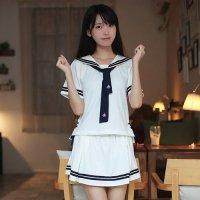 紺と白の配色が清楚で可愛らしい雰囲気を引き出すセーラー服風セクシーコスプレ(SEXYCOSPLAY) ホワイト