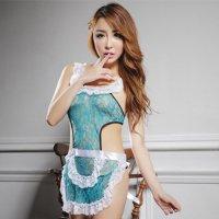 カラーバリエーション豊富な色気のある可愛い新妻エプロン風セクシーコスプレ(SEXYCOSPLAY) グリーン