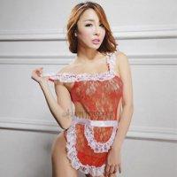 カラーバリエーション豊富な色気のある可愛い新妻エプロン風セクシーコスプレ(SEXYCOSPLAY) レッド