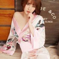 【歳末SALE☆全品10%OFF】艶やかな光沢のサテン生地を使用した和柄の着物風コスプレ(COSPLAY)
