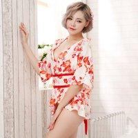 【歳末SALE☆全品10%OFF】花柄の鮮やかな色遣いが愛らしいミニ浴衣風コスプレ(COSPLAY)