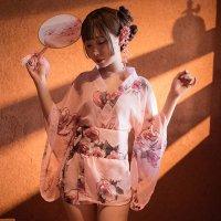 【歳末SALE☆全品10%OFF】淡く描かれた花柄が可憐でシフォン素材の透け感が色気のある浴衣風コスプレ(COSPLAY) ピンク