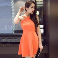 【春分フェア☆第2弾】オリジナリティのある襟元デザインで目を惹くXラインシルエットのワンピース風セクシードレス(SEXYDRESS) オレンジ