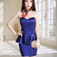 【春分フェア☆第2弾】華やかなぺプラムシルエットが上級の色気を醸し出すドレスワンピ風セクシードレス(SEXYDRESS) ブルー