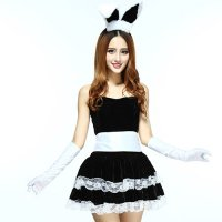 バニーガールをMIXさせたパーティドレスのようなデザインのサンタガール風コスプレ(COSPLAY) ブラック×ホワイト