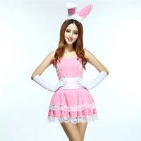 バニーガールをMIXさせたパーティドレスのようなデザインのサンタガール風コスプレ(COSPLAY) ピンク×ホワイト