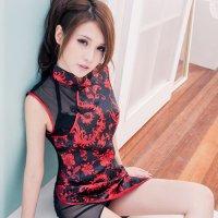 華やかな刺繍の施されたチャイナ風コスプレ(COSPLAY) ブラック
