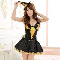 【只今ハロウィンフェア開催中!】ハロウィン 魔女(オレンジ)ウィッチドレス仮装コスプレ(COSPLAY)