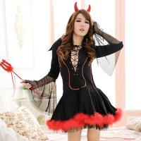 【只今ハロウィンフェア開催中!】ハロウィン 小悪魔(ブラック)ドレス仮装コスプレ(COSPLAY)