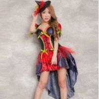【只今ハロウィンフェア開催中!】カラフルな色使いと華やかなデザインが着ているだけで気分を盛り上げる魔女風コスプレ(COSPLAY)