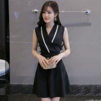 着物のような襟元のデザインが魅力的な令嬢風セクシードレス(キャバドレス・CABARETDRESS) ブラック