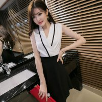 【全品20%OFF!☆ウィークエンドフェア】着物のような襟元のデザインが魅力的な令嬢風セクシードレス(CABARETDRESS) ホワイト×ブラック