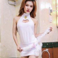 【最大70%OFF☆HALLOWEEN】胸元の猫型の肌見せが色気のある可愛い子猫ちゃん風コスプレ(COSPLAY) ホワイト