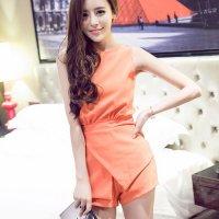【サマーフェスタ☆全品20%OFF】デザイン性が高く短め丈がスタイルアップポイントのセットアップ風セクシードレス(CABARETDRESS) オレンジ