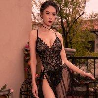 レース1枚仕立てのフェミニンなテディにふんわりメッシュのスカートがロマンティックなセクシーテディ(SEXYTEDDY) ブラック