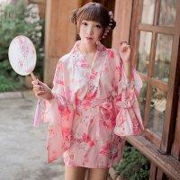 【歳末SALE☆全品10%OFF】花と猫のプリントがキュートな浴衣風コスプレ(COSPLAY) ピンク