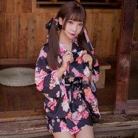 【歳末SALE☆全品10%OFF】花と猫のプリントがキュートな浴衣風コスプレ(COSPLAY) ブラック