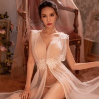 【サマーフェスタ☆全品10%OFF!】メッシュの透け感とふんわり感がまるで天女のようなベビードール(BABYDOLL) ホワイト