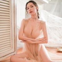 メッシュの透け感とふんわり感がまるで天女のようなベビードール(BABYDOLL) ベージュ
