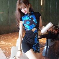 【春分フェア☆第2弾】2種類の生地をパッチワークのように組み合わせたデザイン性の高いチャイナドレス(SEXYDRESS)