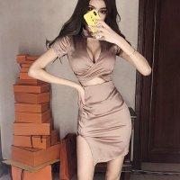【春分フェア☆第2弾】シックなサテンの輝きで洗練された大人の余裕を感じるドレス(SEXYDRESS)