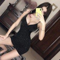 【春分フェア☆第2弾】大きさの異なるラメの微細な輝きがエレガントなドレス(SEXYDRESS)
