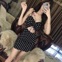 【春分フェア☆第2弾】大きめドットがキュート&セクシーな短め丈のドレス(SEXYDRESS) ブラック