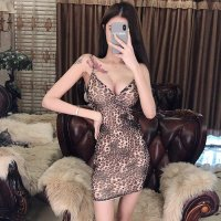 シックなカラーの豹柄が大人のムードを薫らせるタイトドレス(SEXYDRESS)